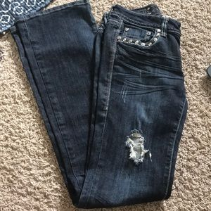 LA Idol Flare Jeans With Bling
